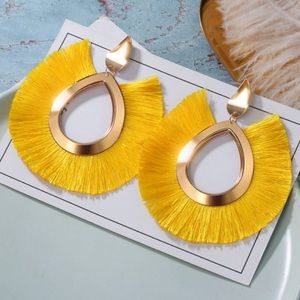 🎉 New Yellow Fringe Gold Plated Stud Earrings